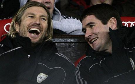 """""""Watch this Sav, if we score, I'm going to jump out the box and dead leg the little twat"""""""